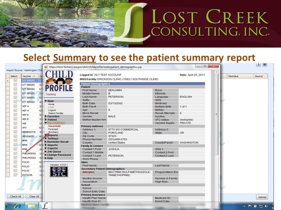 Select Summary to see the patient summary report
