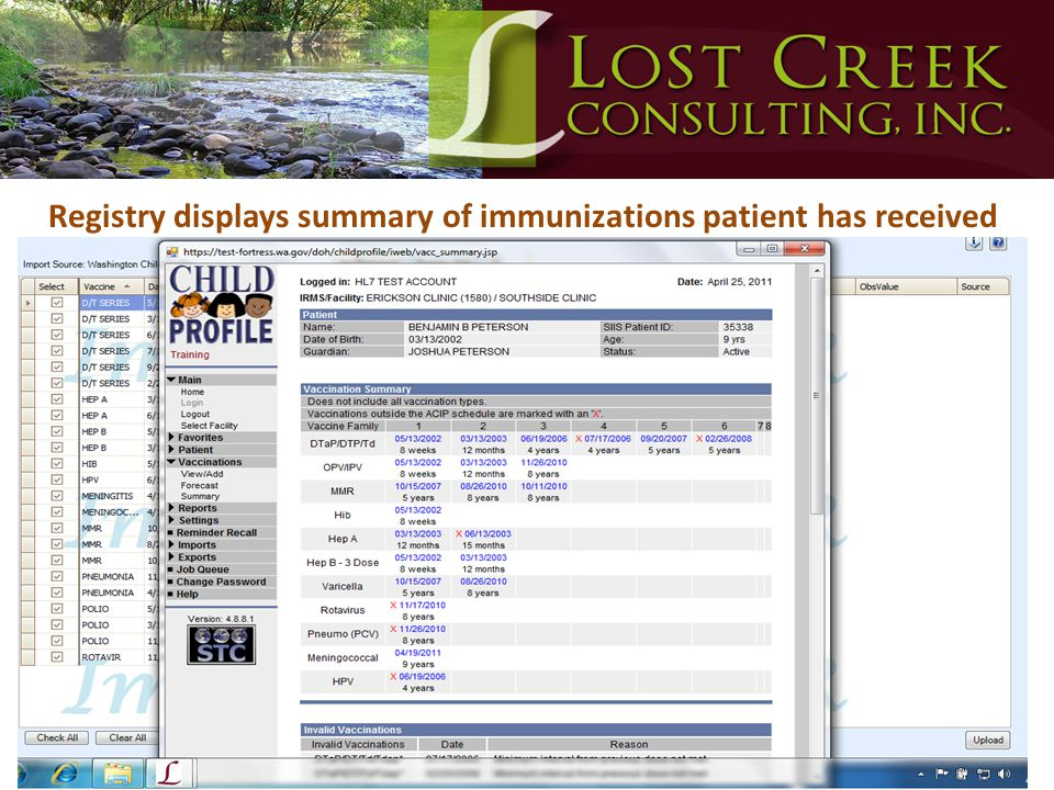 Registry displays summary of immunizations patient has received
