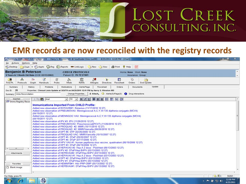 EMR records are now reconciled with the registry records