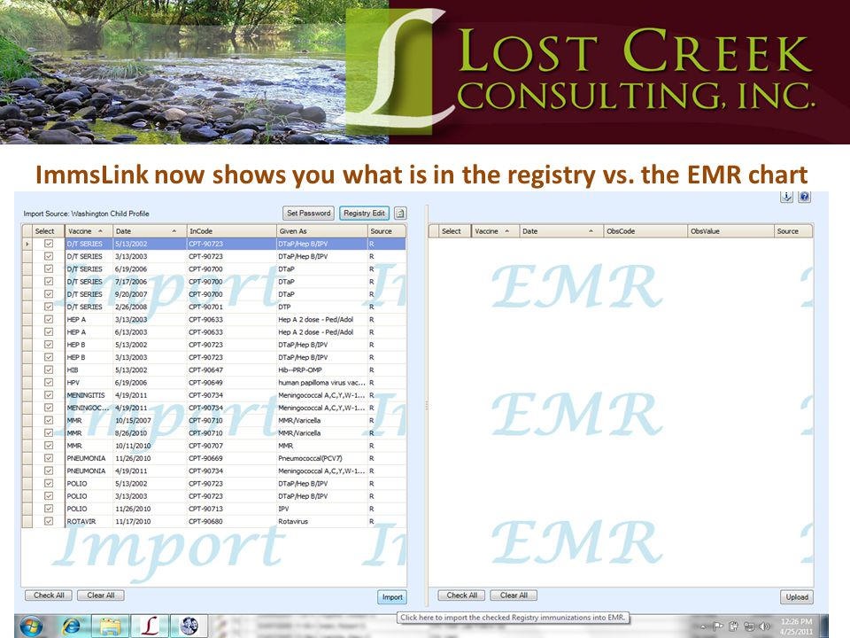 ImmsLink now shows you what is in the registry vs. the EMR chart