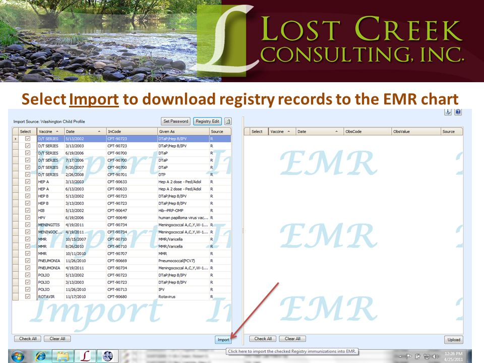 Select Import to download registry records to the EMR chart
