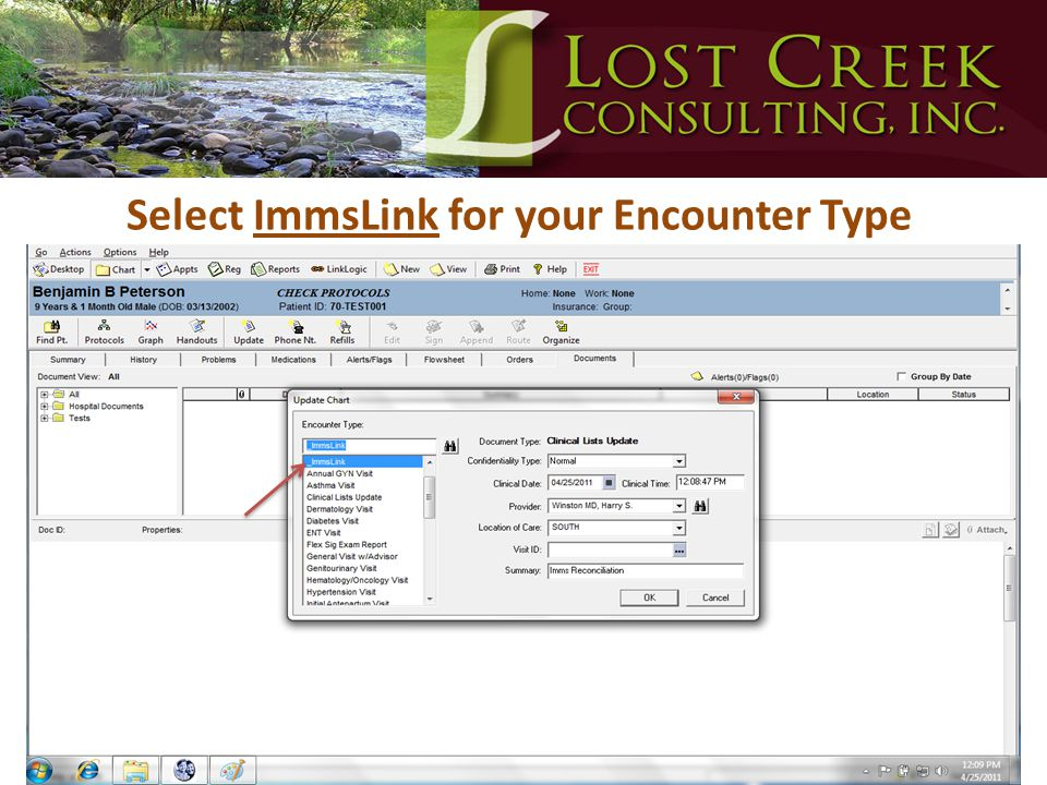 Select ImmsLink for your Encounter Type