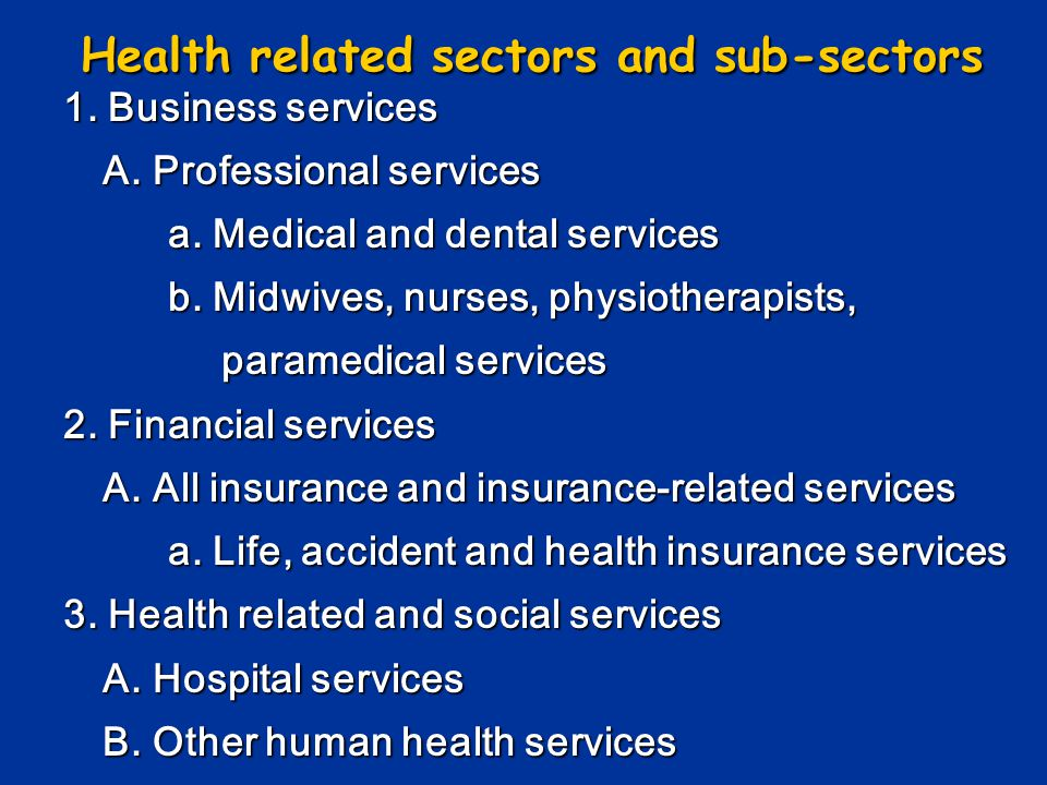 Health related sectors and sub-sectors