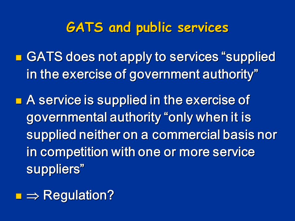 GATS and public services