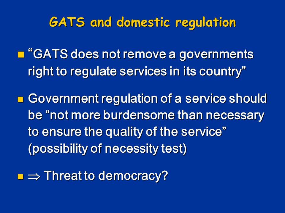 GATS and domestic regulation
