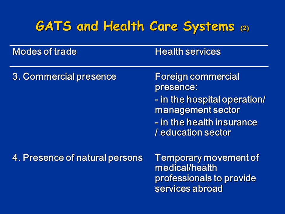 GATS and Health Care Systems (2)