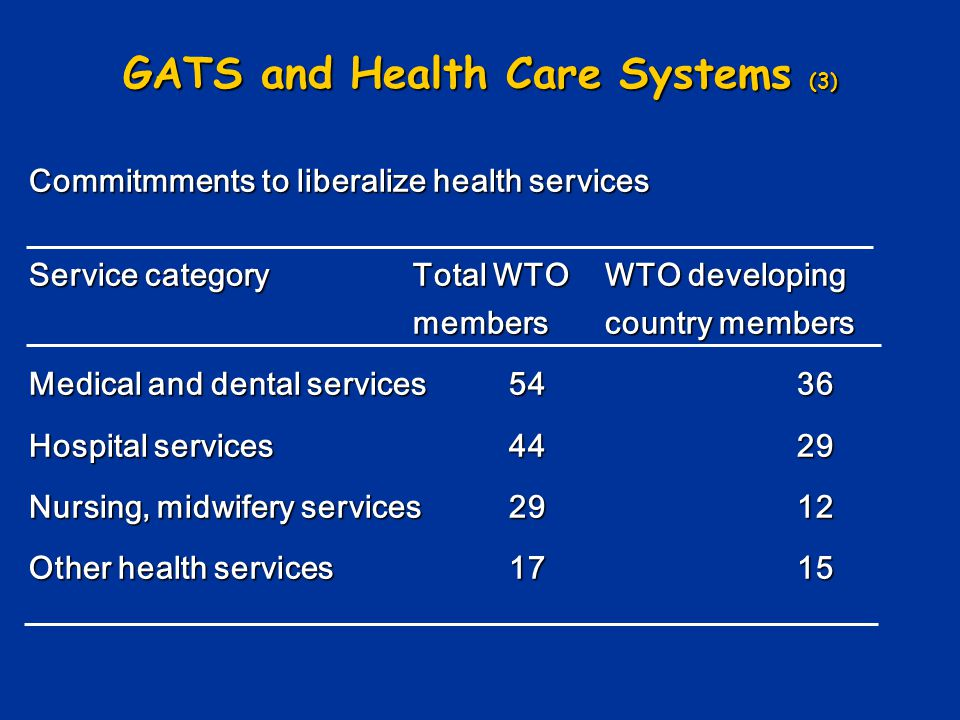 GATS and Health Care Systems (3)