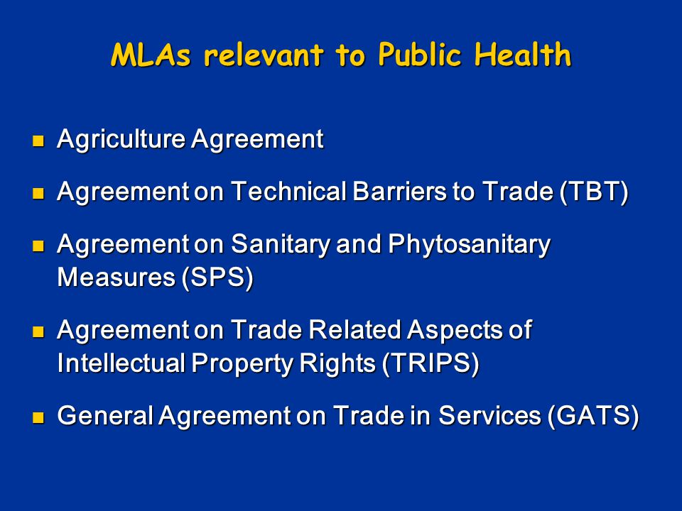 MLAs relevant to Public Health