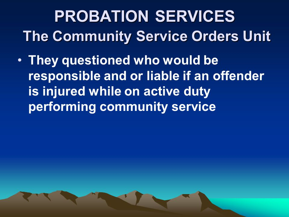 PROBATION SERVICES The Community Service Orders Unit