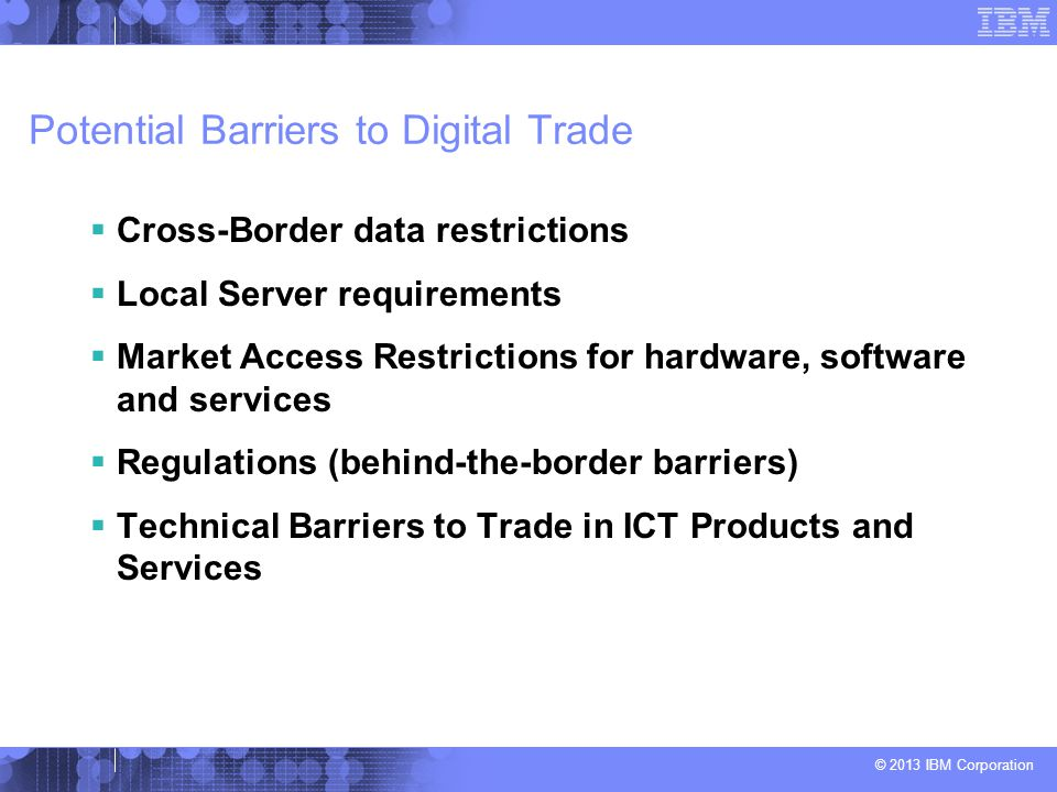Potential Barriers to Digital Trade