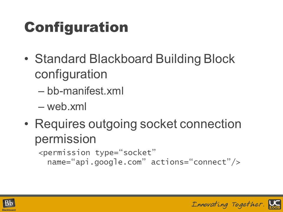 Configuration Standard Blackboard Building Block configuration