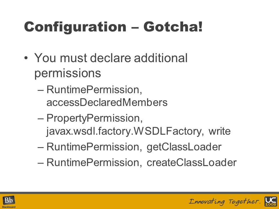 Configuration – Gotcha!