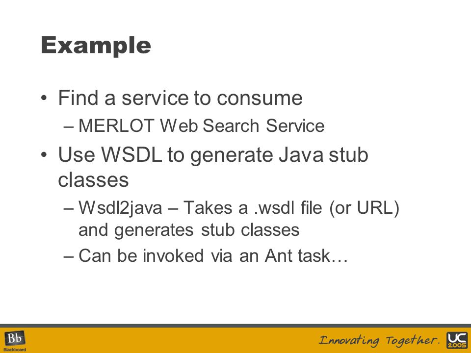 Example Find a service to consume