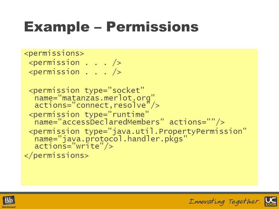 Example – Permissions <permissions> <permission . . . />