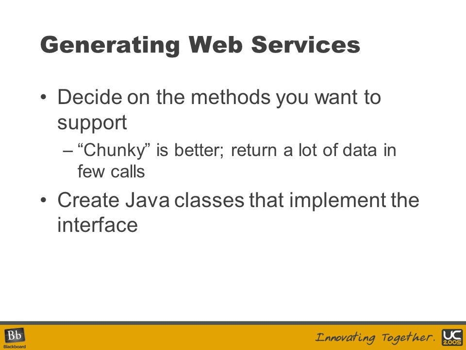 Generating Web Services
