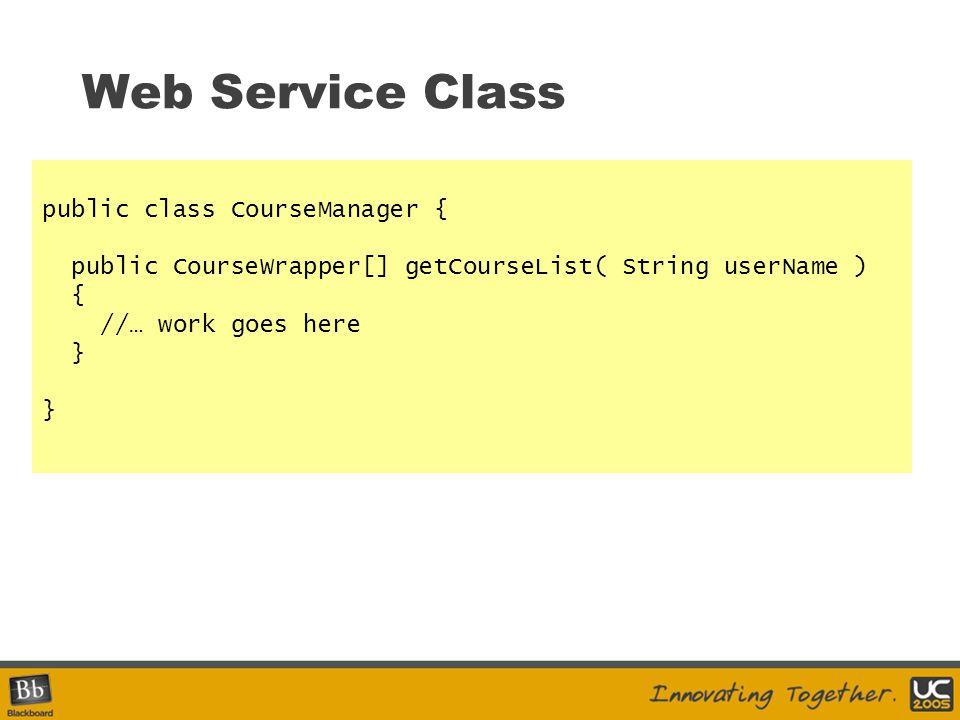 Web Service Class public class CourseManager {