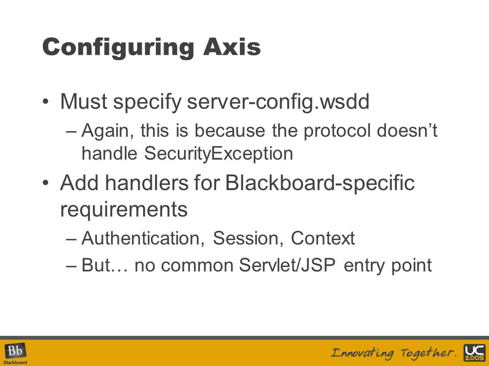 Configuring Axis Must specify server-config.wsdd