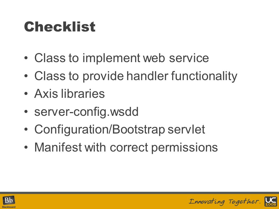 Checklist Class to implement web service
