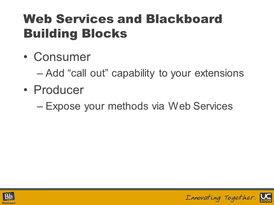 Web Services and Blackboard Building Blocks