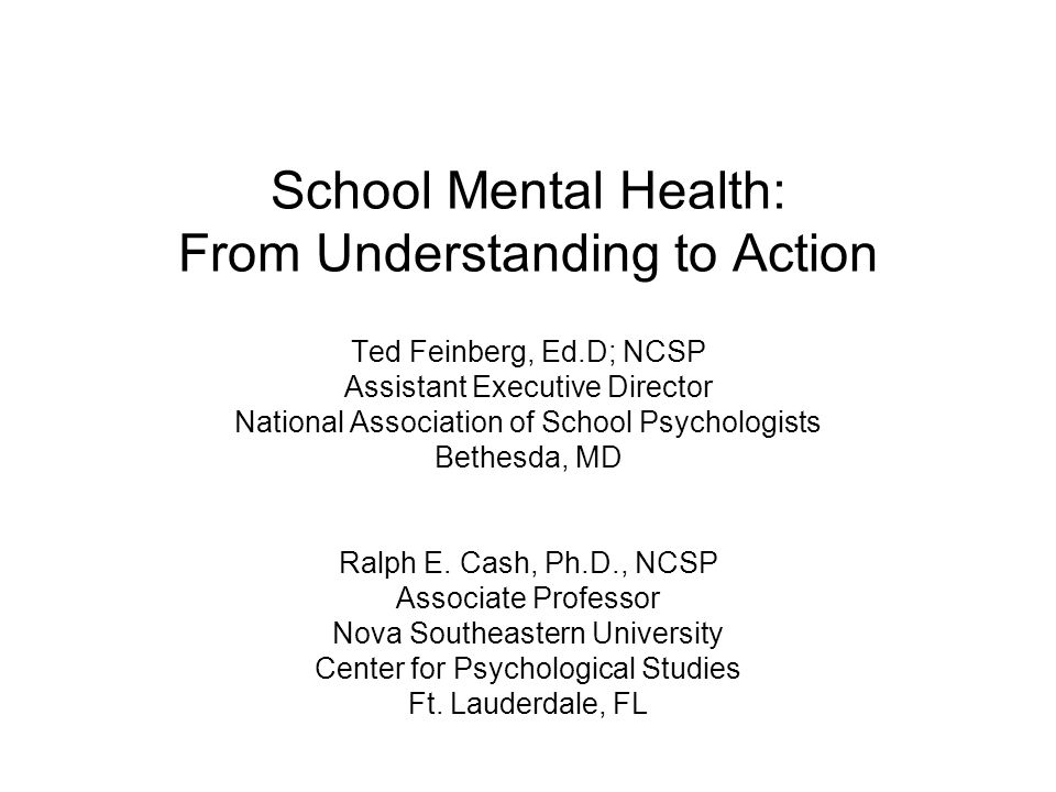School Mental Health: From Understanding to Action