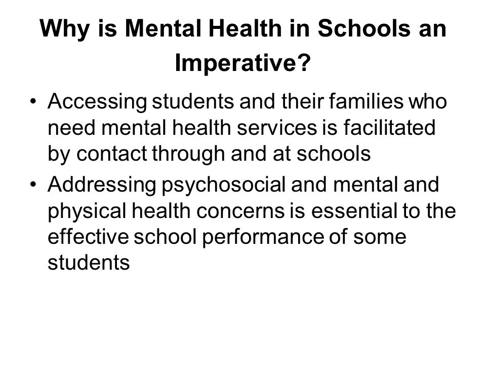 Why is Mental Health in Schools an Imperative