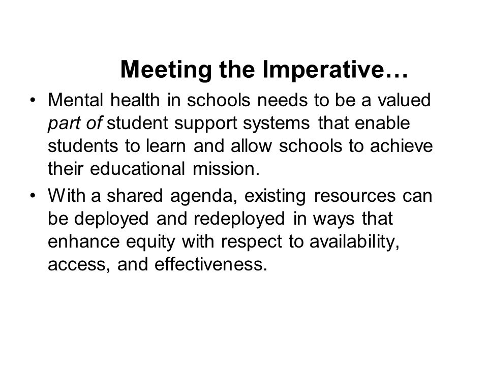 Meeting the Imperative…