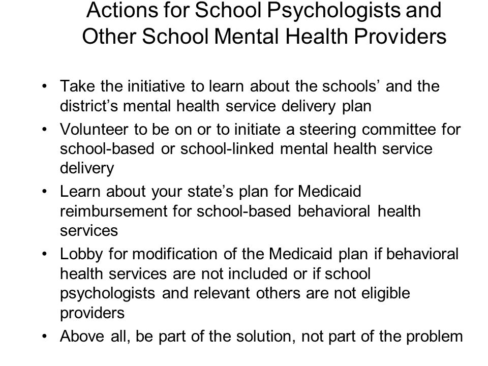 Actions for School Psychologists and Other School Mental Health Providers
