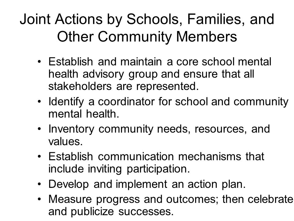 Joint Actions by Schools, Families, and Other Community Members