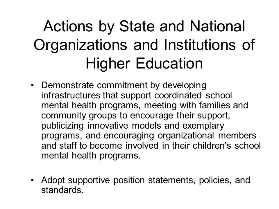 Actions by State and National Organizations and Institutions of Higher Education
