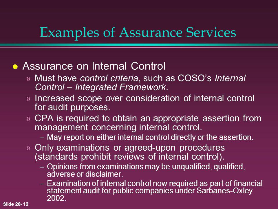Examples of Assurance Services