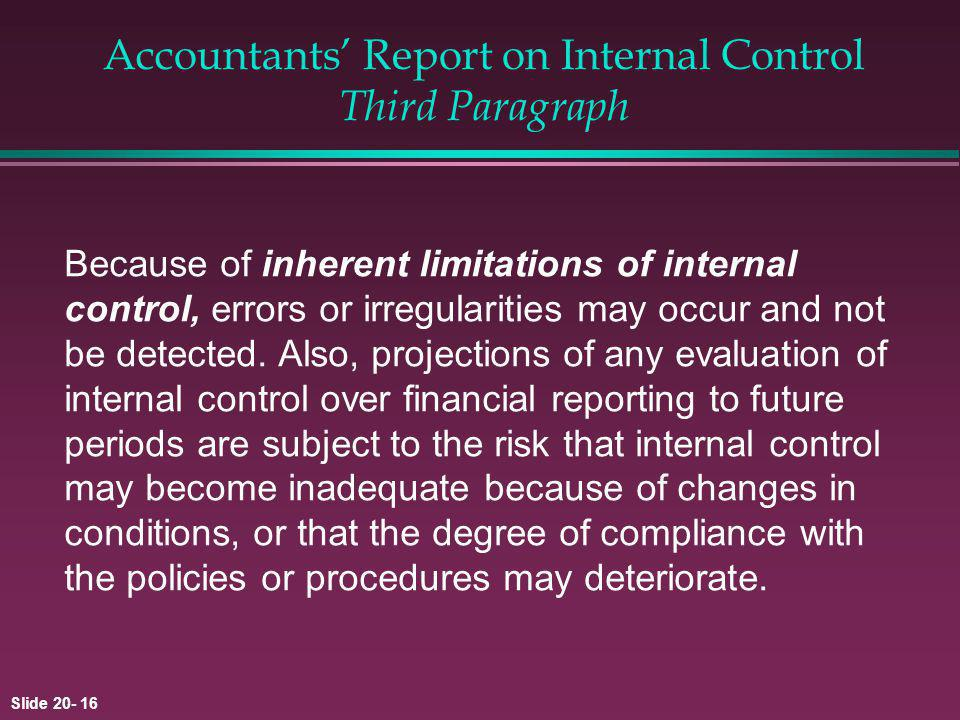 Accountants' Report on Internal Control Third Paragraph