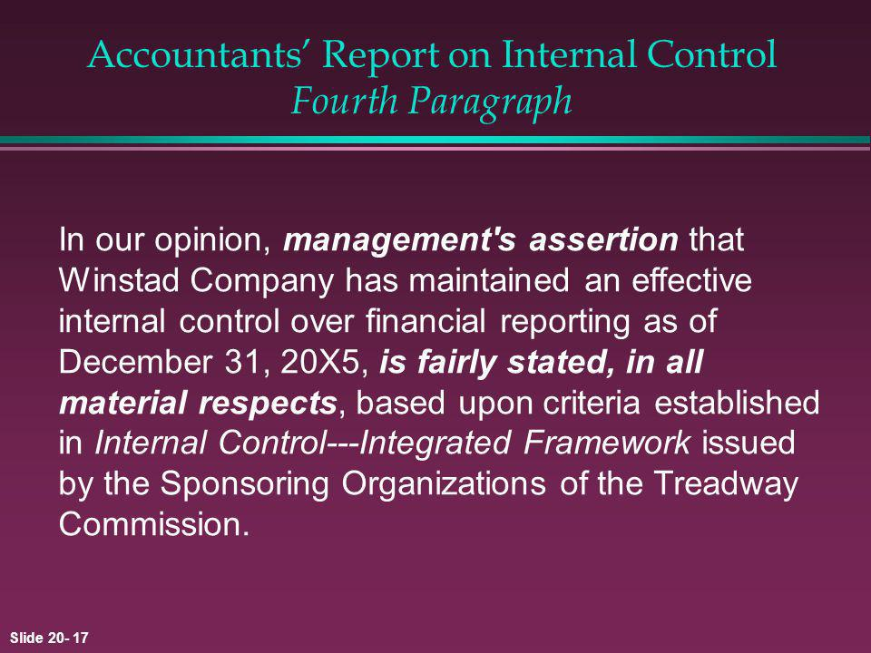Accountants' Report on Internal Control Fourth Paragraph