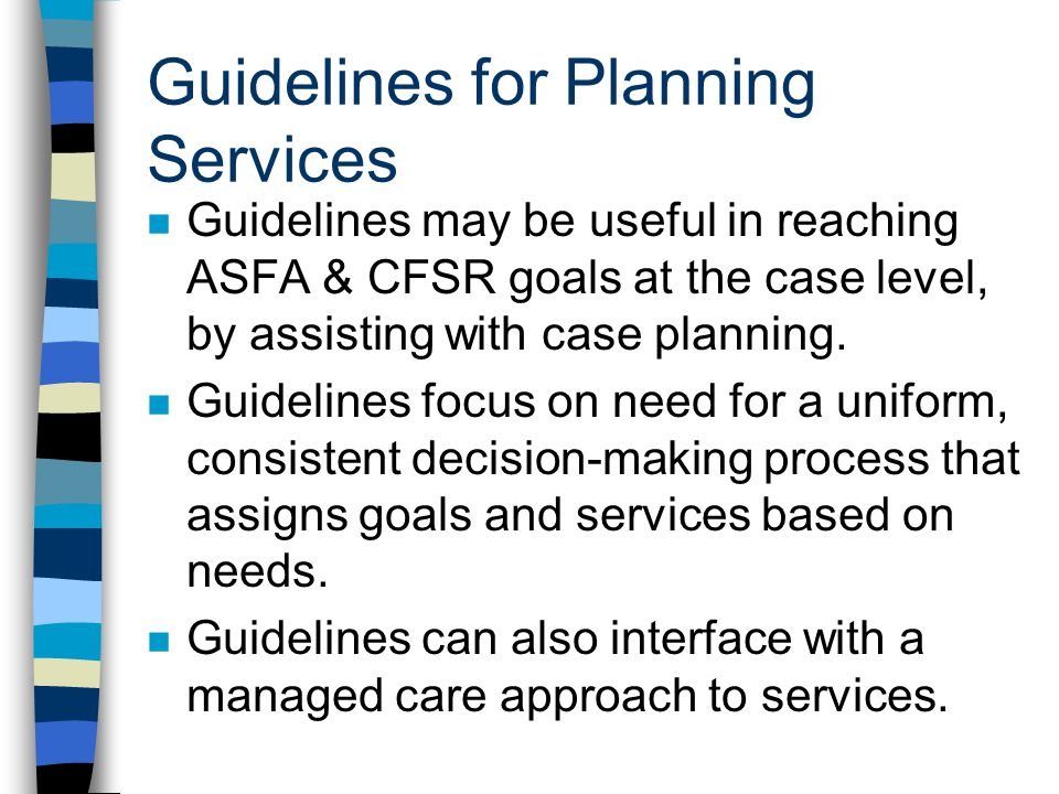 Guidelines for Planning Services