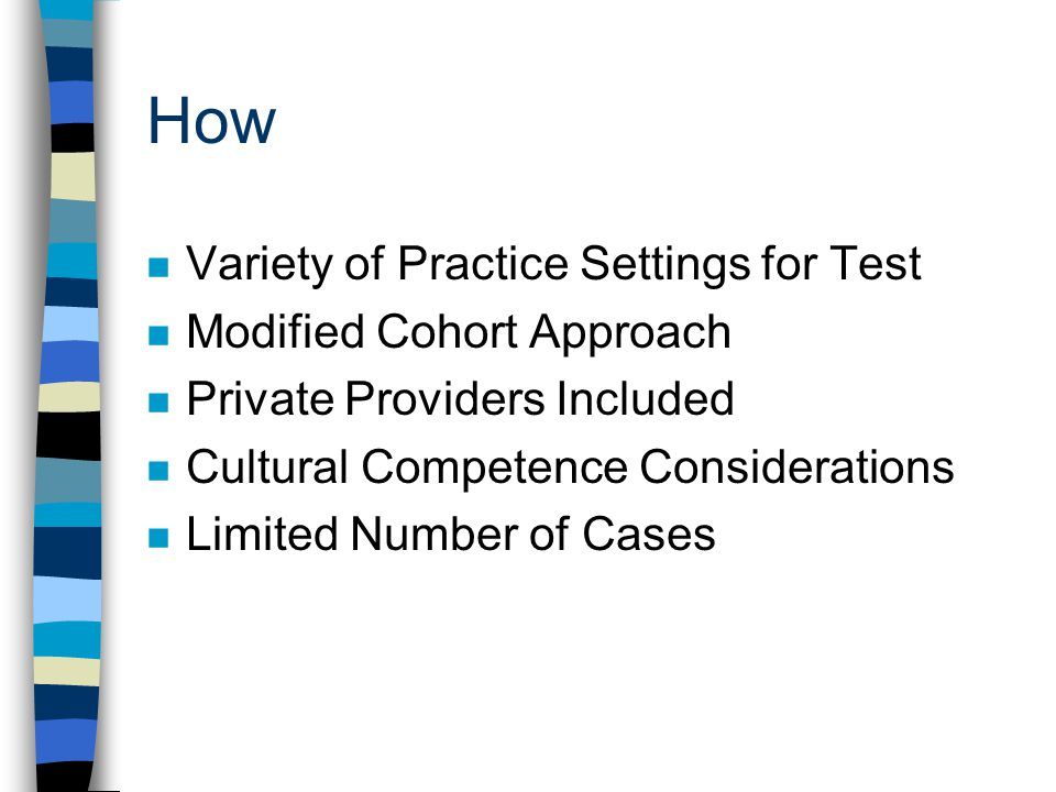 How Variety of Practice Settings for Test Modified Cohort Approach