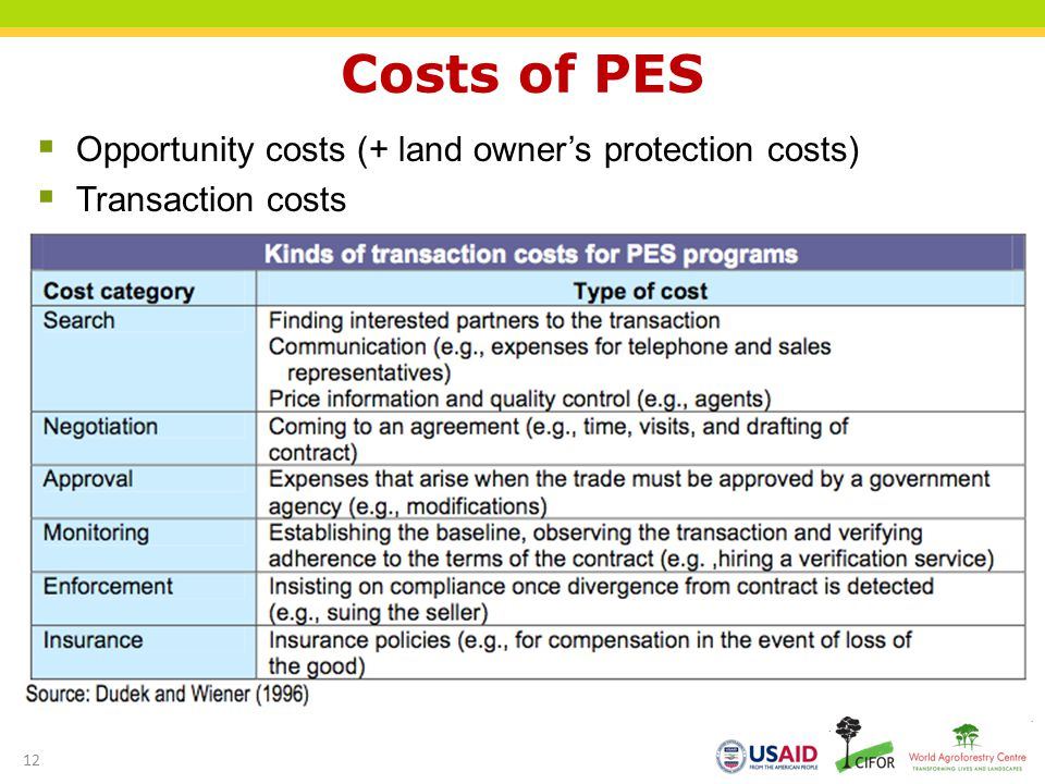 Costs of PES Opportunity costs (+ land owner's protection costs)