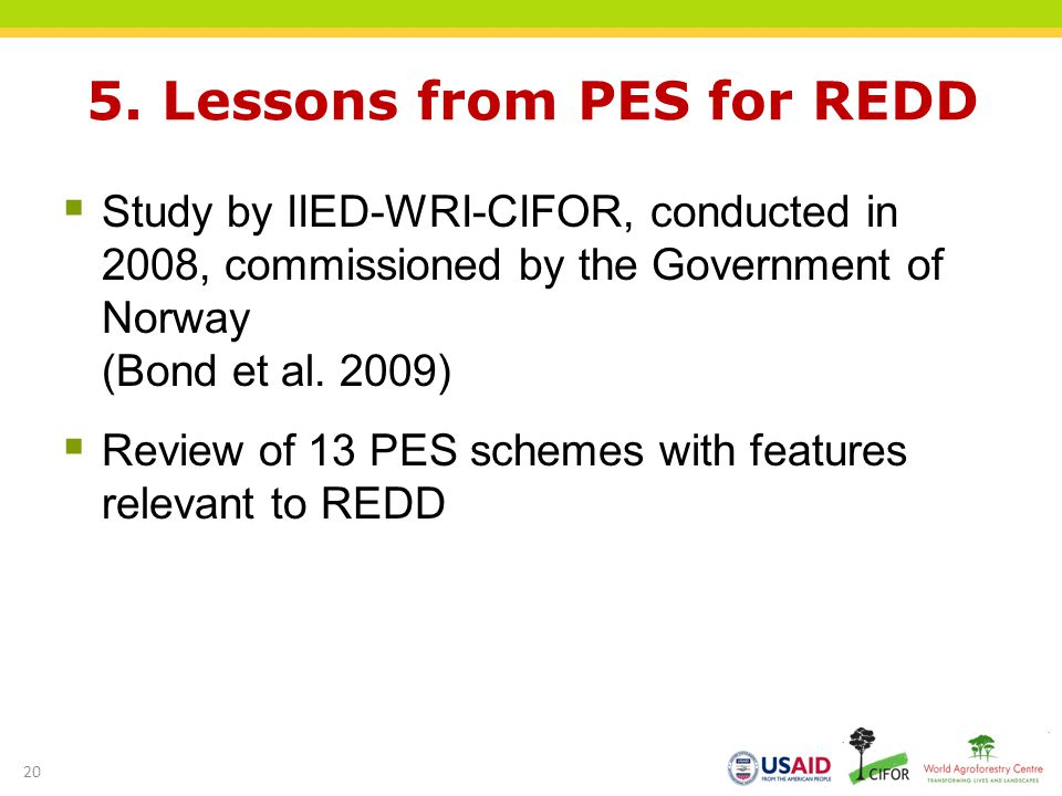 5. Lessons from PES for REDD