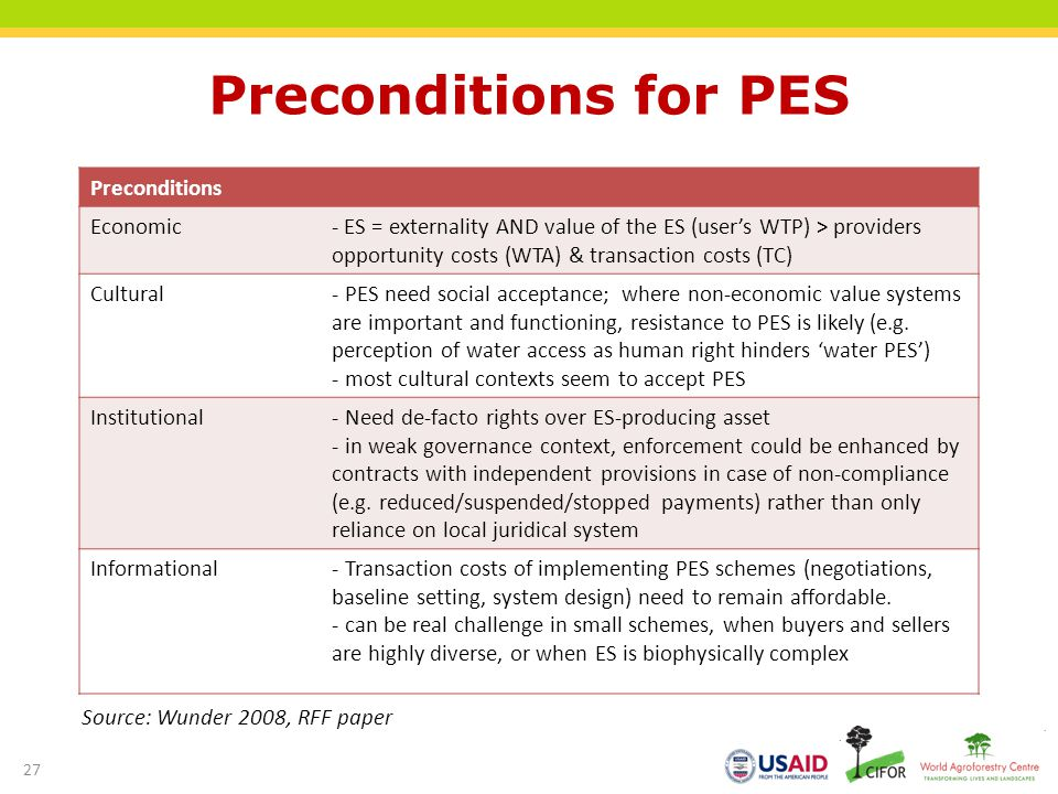 Preconditions for PES Preconditions Economic