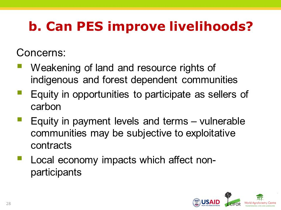 b. Can PES improve livelihoods