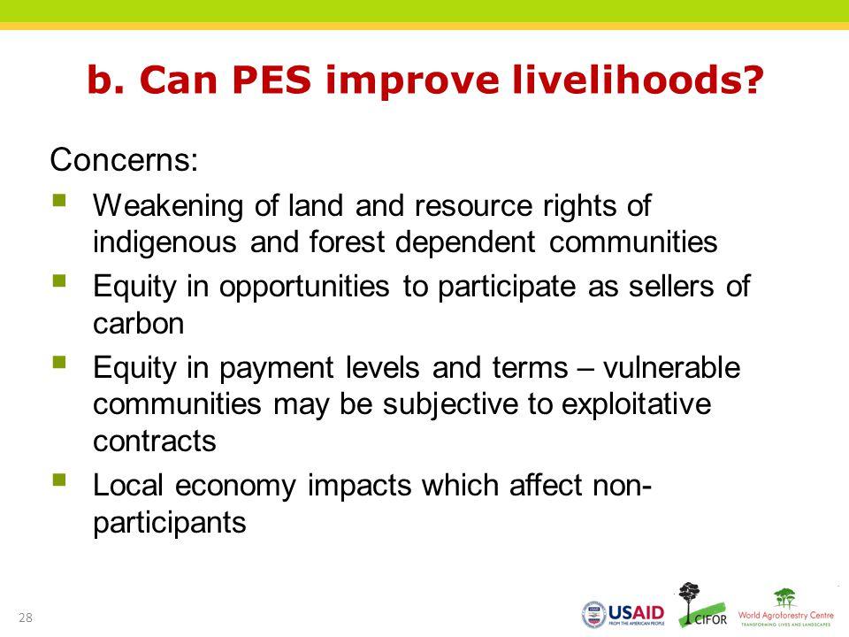 b. Can PES improve livelihoods