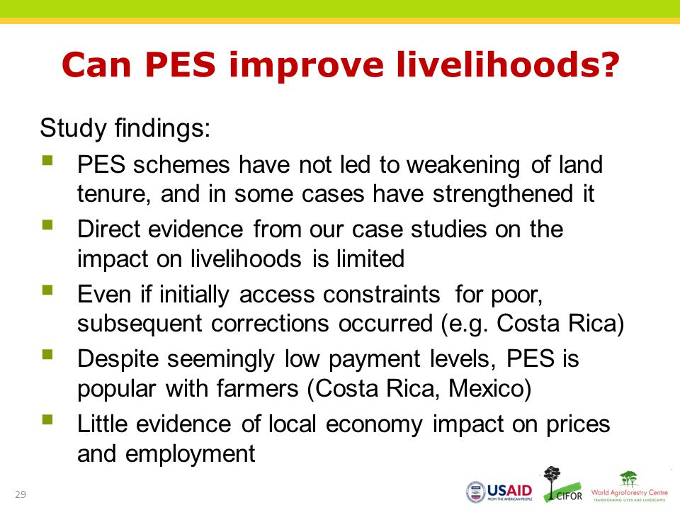 Can PES improve livelihoods