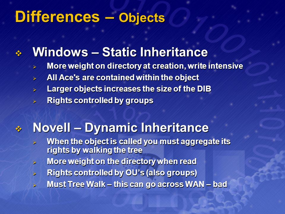 Differences – Objects Windows – Static Inheritance