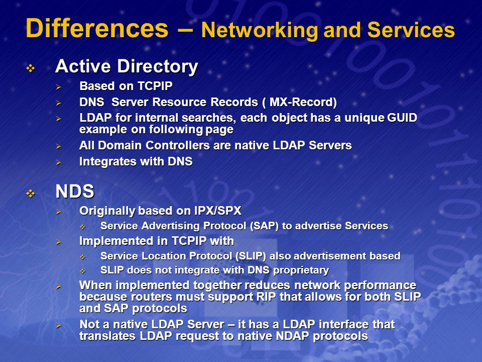 Differences – Networking and Services