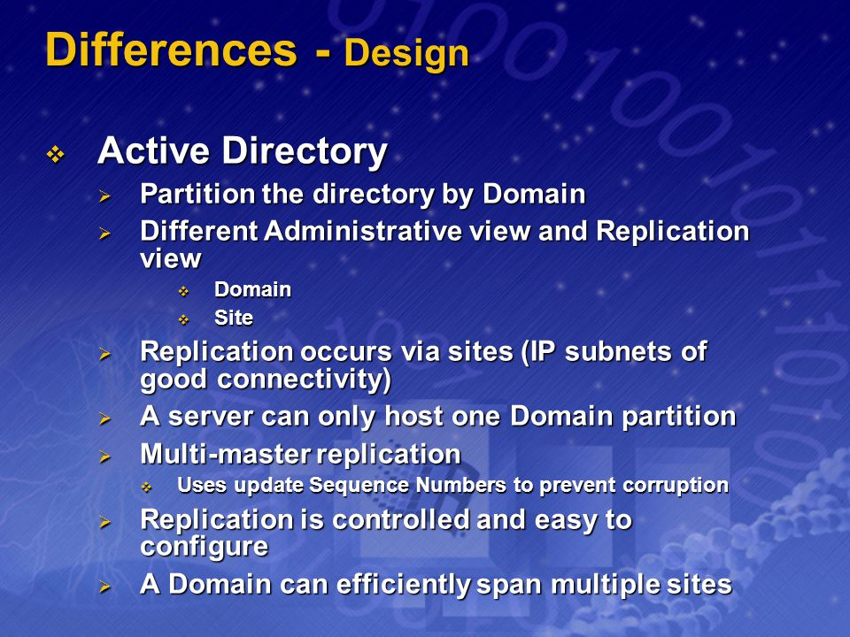 Differences - Design Active Directory