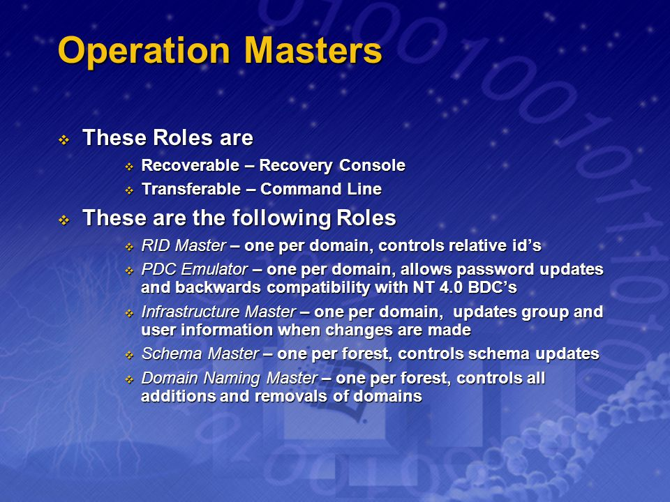 Operation Masters These Roles are These are the following Roles