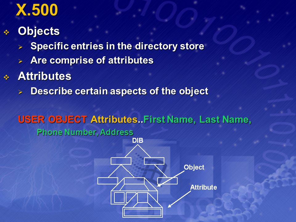 X.500 Objects Attributes Specific entries in the directory store