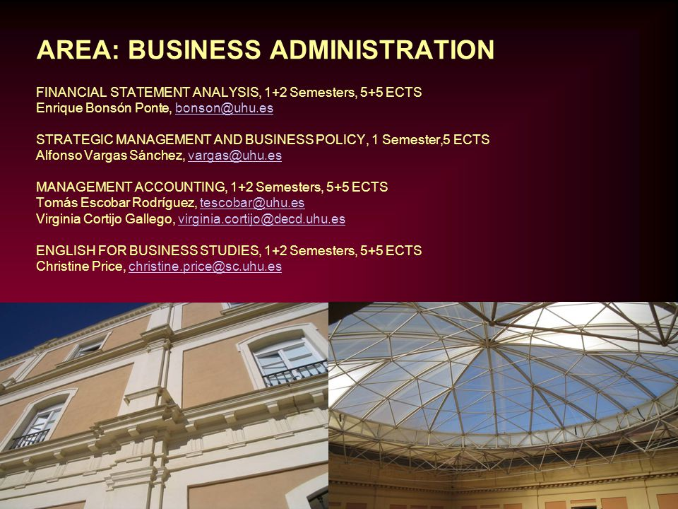 AREA: BUSINESS ADMINISTRATION