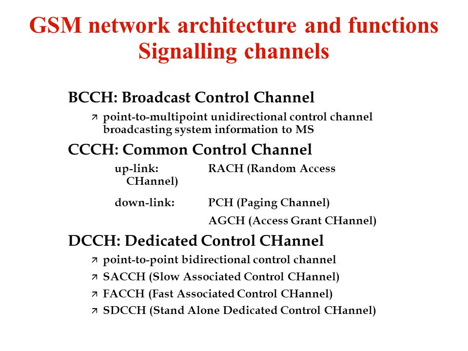 GSM network architecture and functions