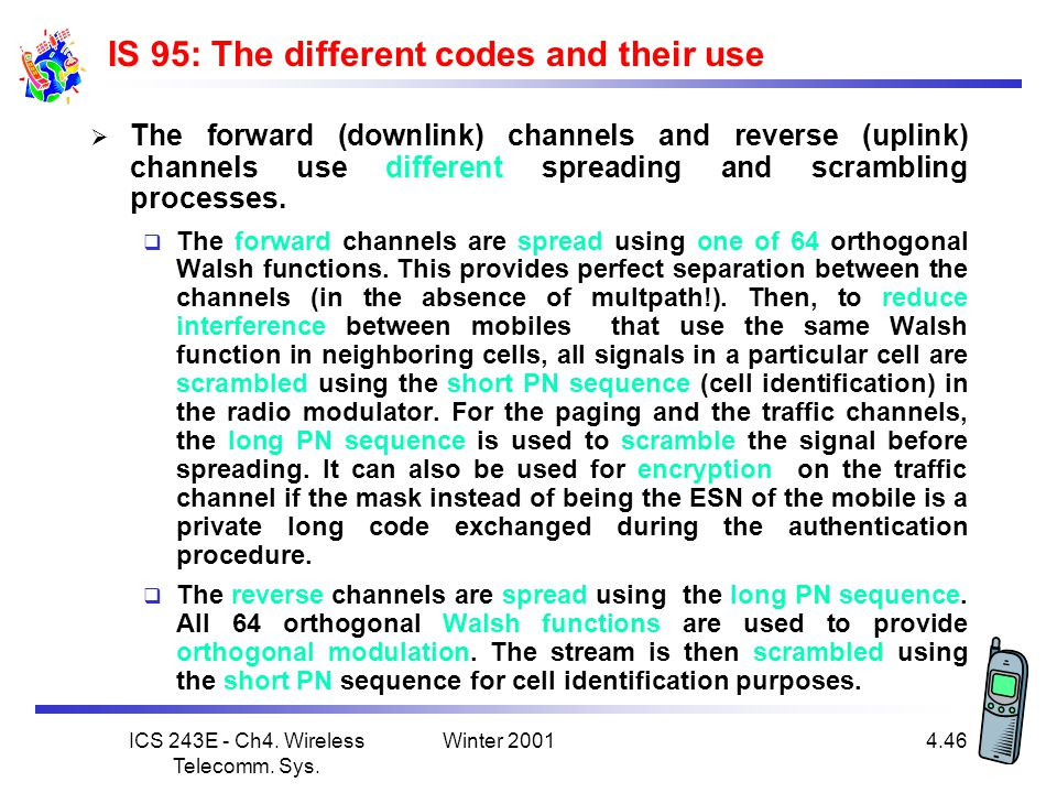 IS 95: The different codes and their use