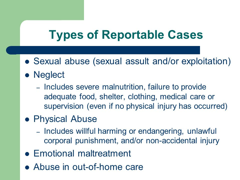 Types of Reportable Cases