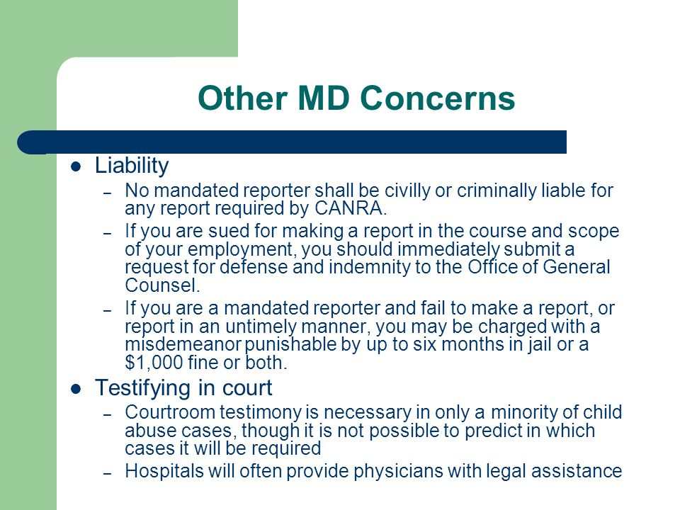 Other MD Concerns Liability Testifying in court